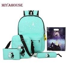 Miyahouse Марка 5 шт./компл. женщины рюкзак милый кот Школьные сумки для девочек-подростков холст печати рюкзаки женские сумки на ремне