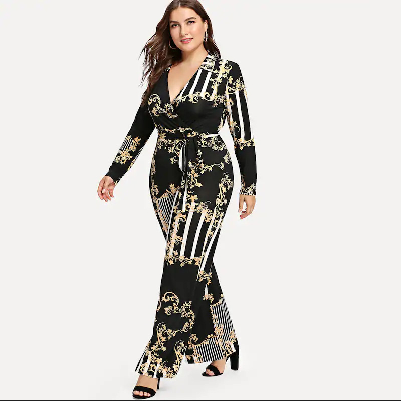 Detail Feedback Questions about Plus Size Mixed Print Wrap Jumpsuit Women  Milk Silk Soft Wide Leg Pant Lace Up Sexy V Neck Long Sleeve Jumpsuits for  Female ... d410fdafa44c