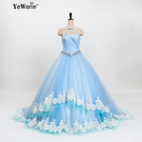 YEWEN Luxe Trouwjurken 2018 Lace Up Lichtblauw Vintage Bruidsjurken Winkelen Verkoop Online Strapless vestido de noiva