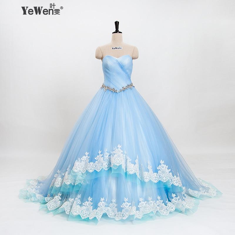 YEWEN Luxury Wedding Dresses 2018 Lace Up Light Blue Vintage Wedding ...