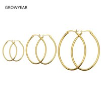 2014 New Promotion Fashion 3PC Lot Women 18K Gold Plated Surgical 316L Stainless Steel Oval Hoop