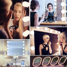Makeup Mirror Vanity LED Light Bulbs lamp Kit 3 Levels Brightness Adjustable Lighted Make up Mirrors Cosmetic lights(China)