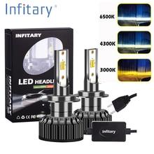 Infitary 2 предмета H4 светодиодный H1 H11 9005 H7 светодиодный фар автомобиля 3 цвета Изменение фары 3000 К 4300 К 6500 К флэш-72 Вт авто огни