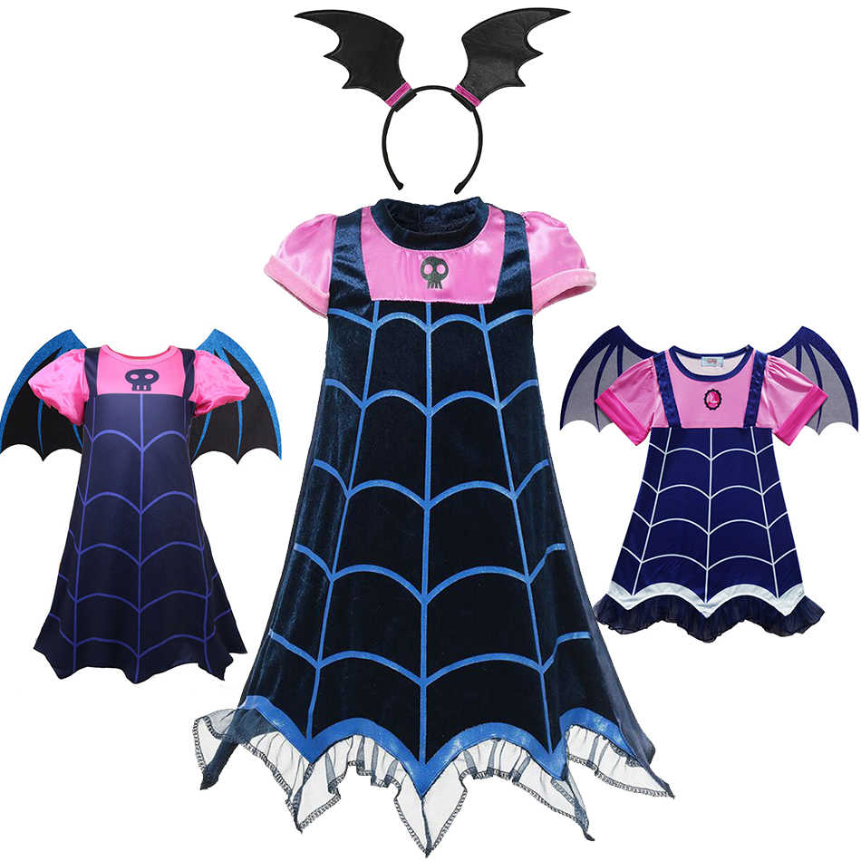 Girl Vampirina Costumes Children Cosplay Vampire Dress up Costume Halloween Girls Dresses Carnival Party Disguise Mask Headband
