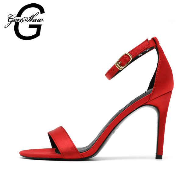 GENSHUO Sexy Women Sandals Thin High Heels 9 CM Gladiator Ankle Strap Sandals Summer Shoes Women Party Femme Shoes Black Silver