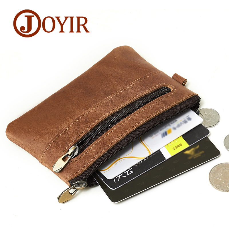 JOYIR Genuine Leather Slim Wallets Men Coin Purses Zipper Short Wallet Male Purse Card keyHolder Small Men Mini Wallet Keychain