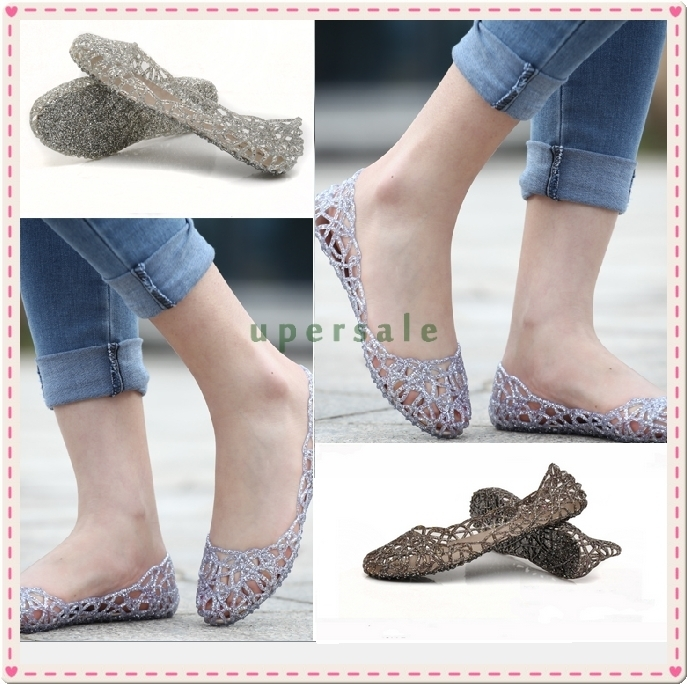 bada94b919b5 2014 summer breathable crystal bling plastic jelly shoes cutout flat heel  bird nest mesh bird nest female flat sandals