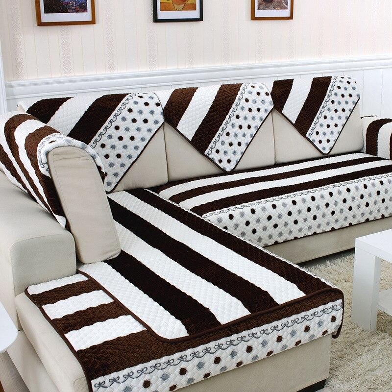 Plush Plaid Sofa Cushion Armrest Towel Back Gray Beige Leather Pillowcase Cover Slip Set Simple Modern