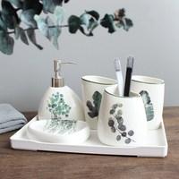 5 sets of Nordic green plant ceramic bathroom series six sets of toothbrush holder soap box soap dispenser bathroom supplies