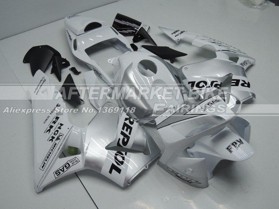 Бело-серебристый REPSOL Мотоцикл Обтекатели для Honda CBR600RR 2003 2004 полный набор Наборы