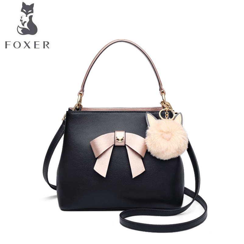 купить FOXER 2018 New women leather bag fashion Bow handbags women famous brand Cowhide material leather tote women shoulder bag по цене 5438.44 рублей