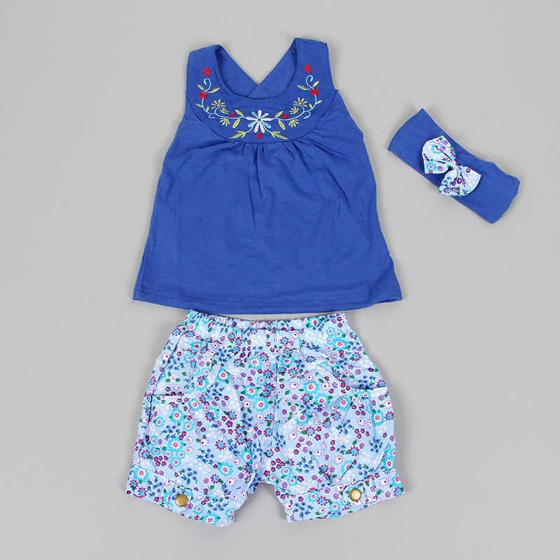 OkayMom moda Lolita niebieskie dziecko Vestidos garnitury dziecko chustka bez rękawów sukienka bawełniany materiał w kratkę Plaid Pant dziecko garnitur zestawy odzież 2020