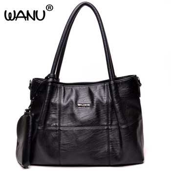 WANU Leather Luxury Handbags Women Shoulder Bags High Quality Crossbody Bags Casual Black Bag for Women Female Ladies --3 Bags - DISCOUNT ITEM  30% OFF Luggage & Bags