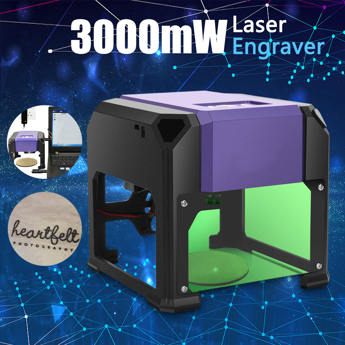 все цены на Desktop Laser Engraver Machine 3000mW USB DIY Logo Mark Printer Cutter CNC Laser Carving Machine 80x80mm Engraving Range онлайн