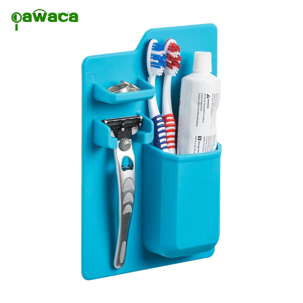 Toothbrush Holder Suction Wall Bathroom Silicone Toothpaste Storage Holder Razor Storage Holder Organizer Tools