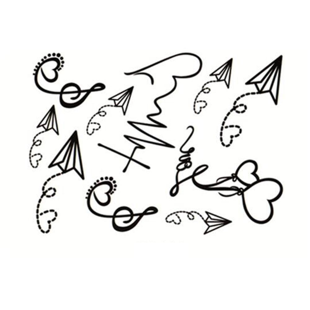Yeeech Temporary Tattoos Sticker For Women Men Fake Treble Clef Music Notes Paper Airplane Heart Ballon Designs