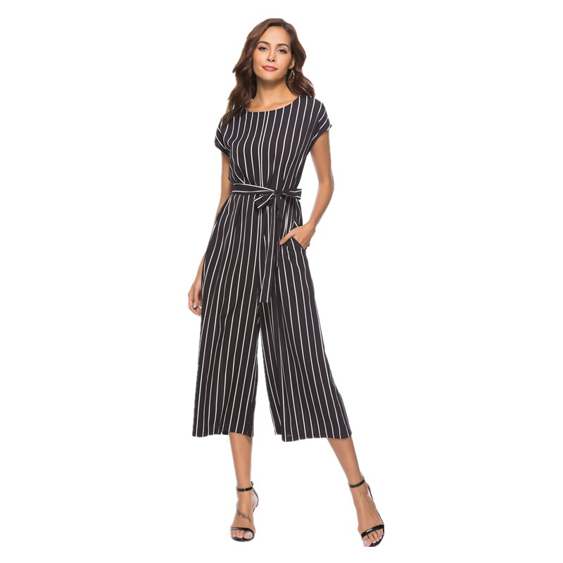 a77f2b40637 wide leg pants women plus size jumpsuit striped summer 2018 black loose rompers  womens jumpsuit one piece overalls cotton SH8010-in Jumpsuits from Women s  ...
