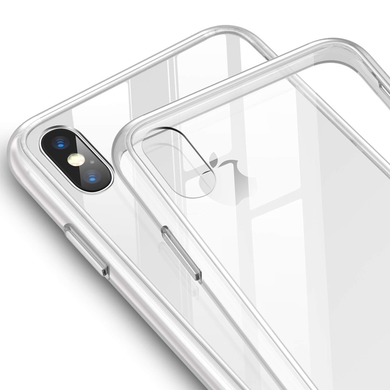 9H Tempered Glass Transparent Back Cover Case for iPhone XR XS Max Case 360 Shockproof for iPhone 6 7 8 Plus Case Clear Crystal iPhone XR