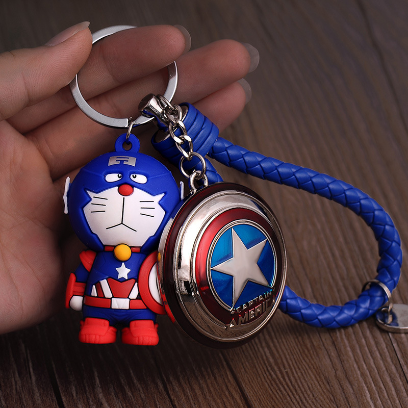 New Marvel Super Heroes Series Keychain Jingle Cat Captain America Doll Design Keyring for Men Boy Schoolbag Charm Accessories