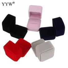 1piece box velvet jewelry box for finger ring wedding jewelry storage boxes black red pink grey 51x56x51mm gift display package