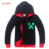 Adult Boys Minecraft Halloween Creeper Costume Ideas Teenage Spring Autumn Black Grey Red Zip Hoodies Sweatshirt
