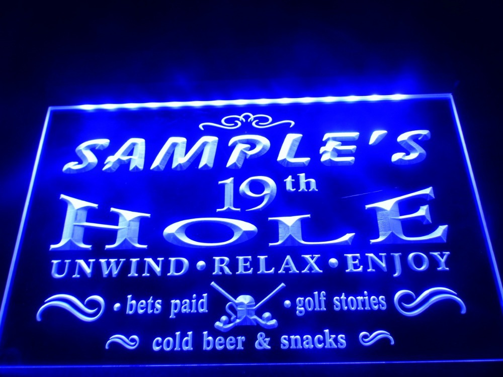 Dz010 Name Personalized Custom Golf 19th Hole Bar Beer Led