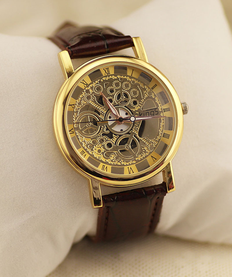 Mens Watches Top Brand Luxury PU Leather Hollow Dial Analog Rome Digital Quartz Wrist Watch Reloj Hombre Christmas Gift mance luxury men s watches fashion brand dragon rome digital leather hollow dial quartz wrist watch relogio masculino time clock