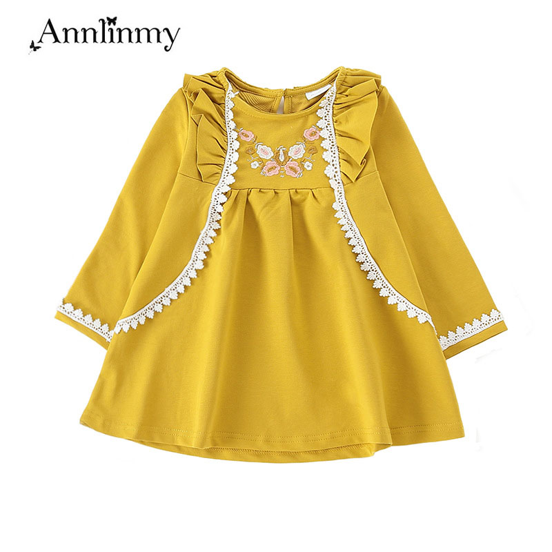 11e1351b3 2019 spring autumn clothes lace embroidery girls dress Retro National kids  clothes yellow fly sleeve baby girl dress for 2~8 age - aliexpress.com -  imall. ...