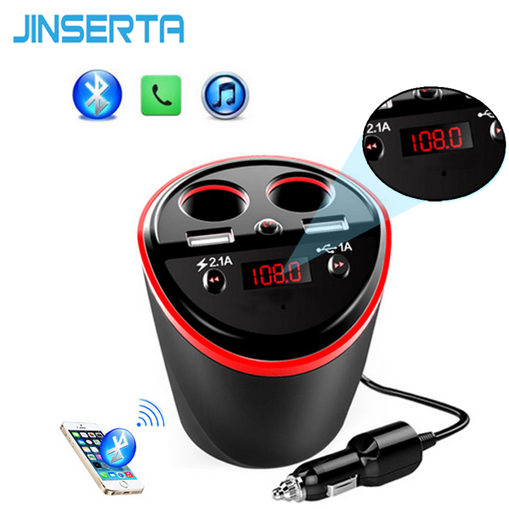 JINSERTA 6-in-1 Handsfree Wireless Bluetooth FM Transmitter Modulator Car Kit MP3 Player 2 USB LCD Car Cigarette Lighter adapter