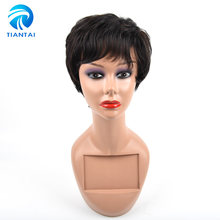 "TIANTAI Short Human Hair Wigs For Women Natural Wave 4"" Natural Color 100% Non Remy Human Hair Machine Made Rose Net Wigs(China)"