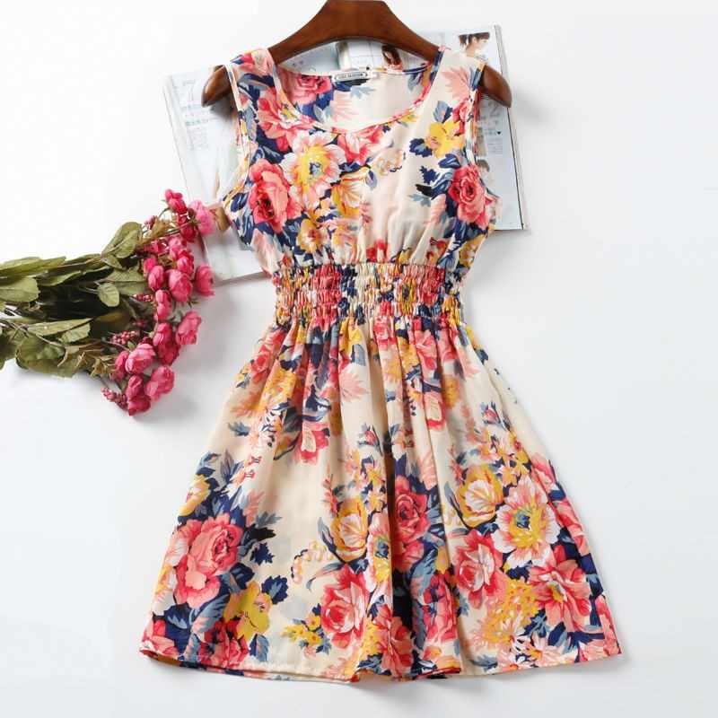 NEW Sexy Dress Women Chiffon Dress Sleeveless Sundress thin Vestidos Beach Floral Tank Mini Dresses Vestido 2019