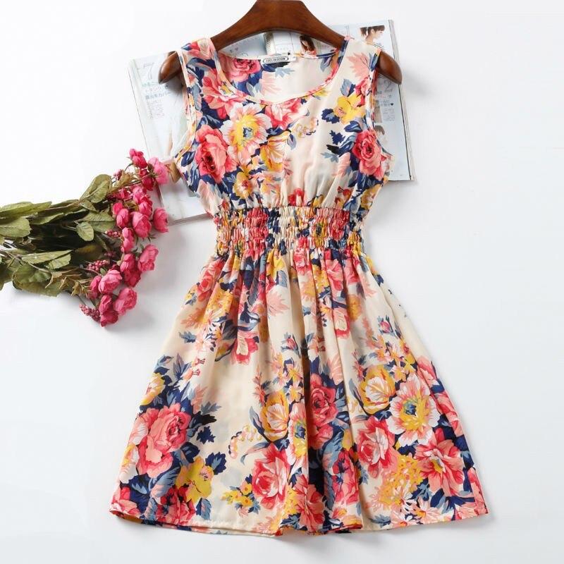 NEW Sexy Dress Women Chiffon Dress Sleeveless Sundress Thin Vestidos Beach Floral Tank Mini Dresses Vestido 2019