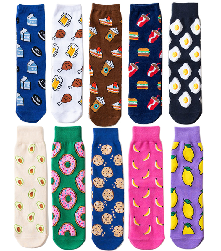 Funny Women Food Tropical Fruit Crew   Socks   Korean Cute Hip Hop Lemon Avocado Fried Eggs Banana Cookies Donut Illustration   Socks