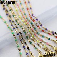 wholesale 100pcs golden color 1.5mm cross chain with colors resin stainless steel necklace women fashion jewelry ZX691DG