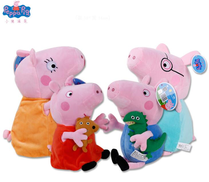 цена на Genuine 4PCS 19/30CM pink Peppa Pig Plush pig Toys high quality hot sale Soft Stuffed cartoon Animal Doll For Children's Gift