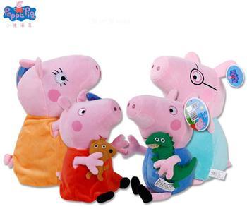 Véritable 4 PCS 19/30 CM rose Peppa Cochon Cochon En Peluche Jouets haute qualité vente chaude Doux En Peluche Animal de bande dessinée de Poupée Pour Enfants cadeau