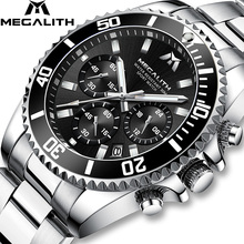 MEGALITH Fashion Mens Watches Top Brand Luxury Chronograph Waterproof