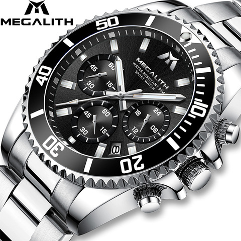 MEGALITH Fashion Mens Watches Top Brand Luxury Chronograph Waterproof Colck Men Watch Gents Reloj Hombre 2018 Sport Wrist Watch Pakistan