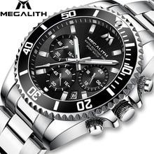 MEGALITH แฟชั่น Mens Luxury Chronograph กันน้ำ Colck นาฬิกาผู้ชาย Gents Reloj Hombre 2018 นาฬิกาข้อมือกีฬา