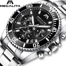 Часы MEGALITH Мужские Наручные с хронографом, модные брендовые Роскошные водонепроницаемые спортивные, для мужчин, 2018