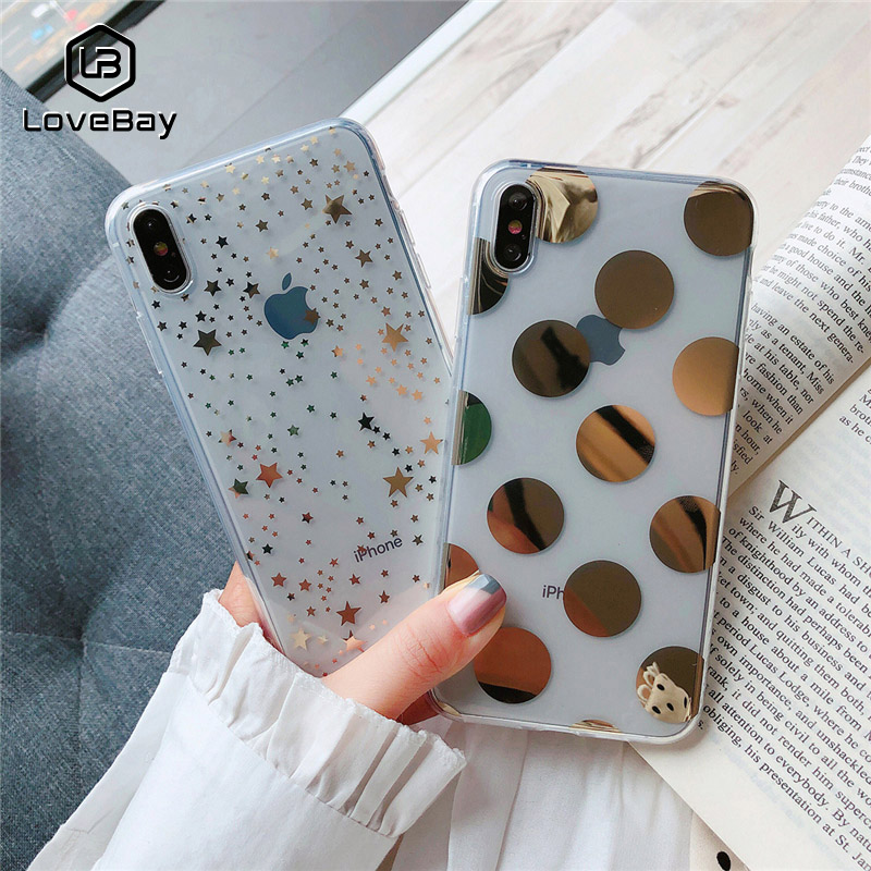 Lovebay Phone Case For IPhone 6 6s 7 8 Plus X XR XS Max Fashion Electroplated Star Wave Point Clear Soft TPU For IPhone X Cover