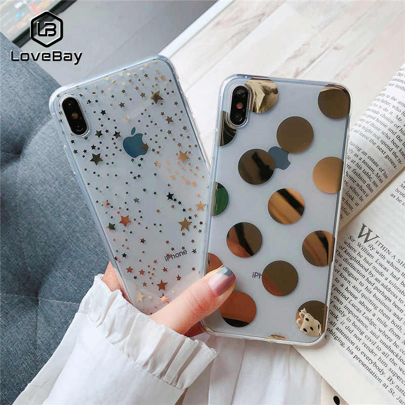 Lovebay โทรศัพท์สำหรับ iPhone 11 6 6s 7 8 Plus X XR XS 11Pro Max Electroplated Star Wave point Clear Soft TPU สำหรับ iPhone X Cover