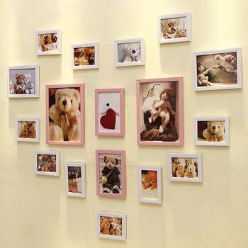 17 Boxes Heart-shaped Photo Wall Living Room Creative Romantic Combination Photo Frames Wall Wedding Bedroom Wall-mounted Sets
