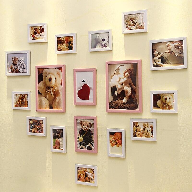 17 boîtes en forme de coeur Photo mur salon créatif romantique combinaison cadres Photo mur mariage chambre ensembles muraux