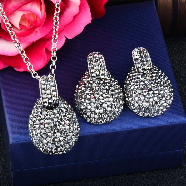 Vintage Teardrop Antique Silver Cubic Zirconia Jewelry Set