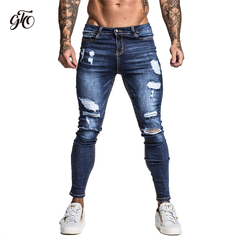 Gingtto Men's Skinny Stretch Repaired Jeans Dark Blue Hip Hop Distressed Super Skinny Slim Fit Cotton Comfortable Big Size zm34(China)