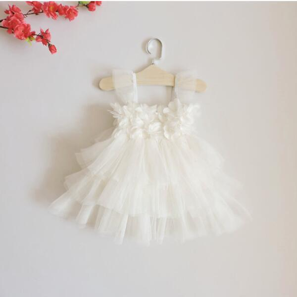 3e166759e3bc 2016 NEW children white fairy tale puff sleeve flower dress baby ...