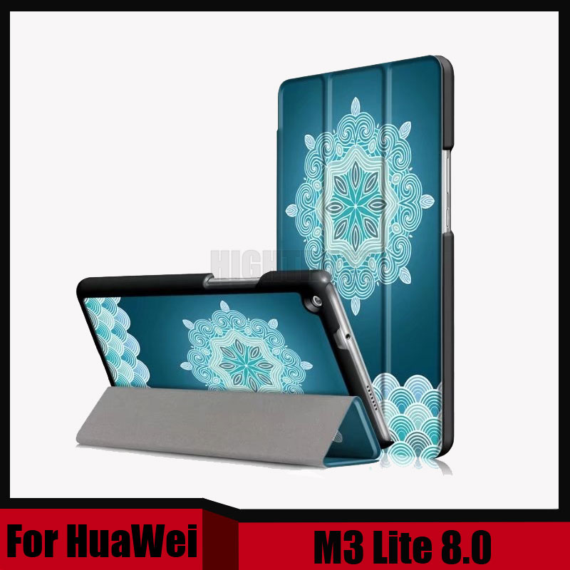 3in1 Printing Pu leather stand smart folio magnet case cover for Huawei MediaPad M3 Lite 8.0 CPN-W09 CPN-AL00 2017 tablet +Gift case for huawei mediapad m3 lite 8 inch magnet wake smart case cover for huawei mediapad m3 lite 8 0 inch with stand holder