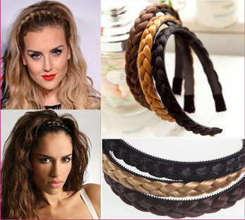 1 Piece New Arrival Trendy Headband Women Braided Synthetic Hair Plaited Plait E