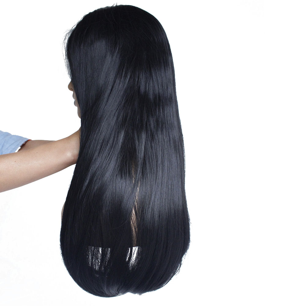 Long straight bob synthetic lace front wig-6